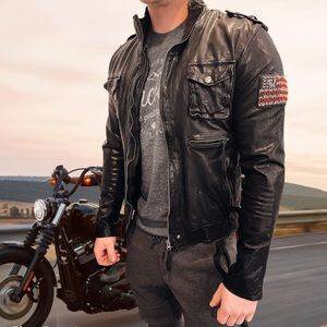 TRUE RELIGION 🏍 Men's Leather Motorcycle Jacket